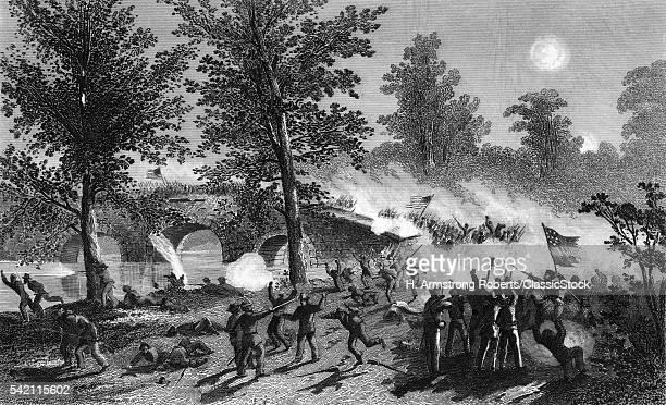 1860s BURNSIDE'S PASSAGE OF THE BRIDGE AT BATTLE OF ANTIETAM CREEK SHARPSBURG MARYLAND SEPTEMBER 1862 USA