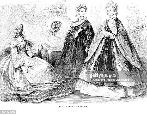 1860s FASHIONS OF THE DAY ILLUSTRATION 1861 3 WOMEN MODELS LONG DRESSES CRINOLINE HOOP SKIRT CAPE HAT ANTEBELLUM STYLE CLOTHING