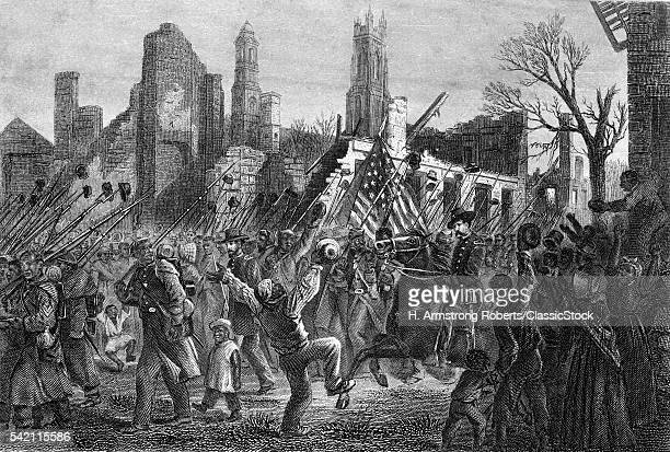 1860s FEBRUARY 1865 ENTRANCE OF THE 55th MASSACHUSETTS AFRICANAMERICAN REGIMENT INTO CHARLESTON SOUTH CAROLINA USA