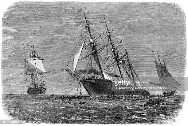 1860s JUNE 1864 UNION SHIP THE STEAMER KEARSARGE SINKS THE PIRATE ALABAMA OFF THE COAST OF CHERBOURG FRANCE