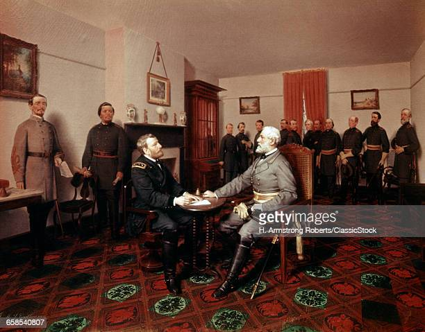 1860s LEE SURRENDERS TO GRANT AT APPOMATTOX AMERICAN CIVIL WAR CONFEDERATE UNION 1865 PAINTING BY J FERRIS SURRENDER