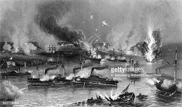 1860s MAY 1862 CAPTURE OF NEW ORLEANS FEDERAL FLEET PASSING MISSISSIPPI RIVER FORTS UNION NAVAL VICTORY