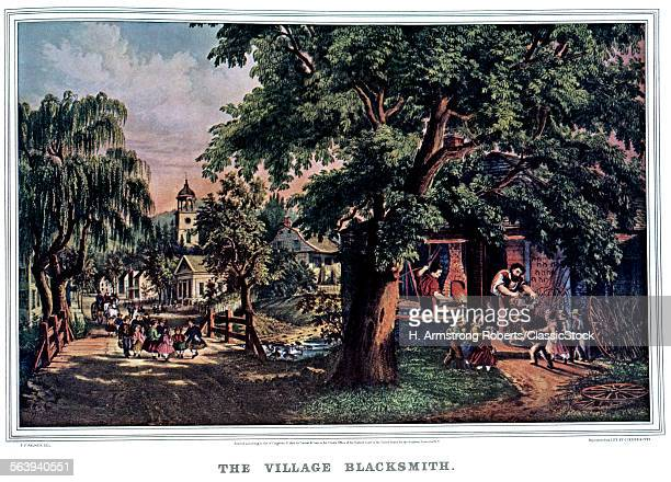 1860s THE VILLAGE BLACKSMITH CURRIER IVES PRINT 1864