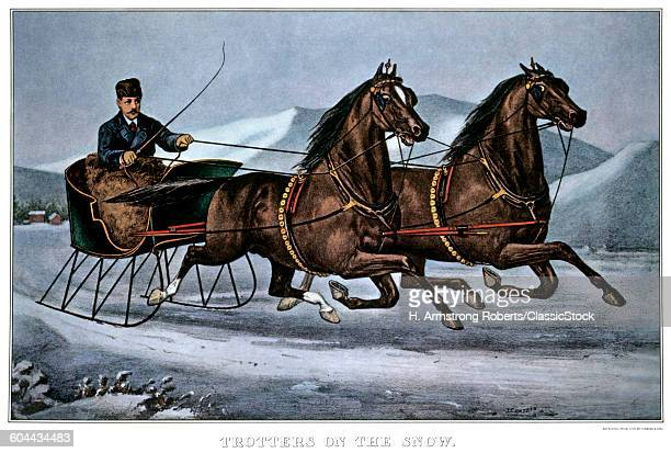 1860s TROTTERS ON THE SNOW CURRIER IVES LITHOGRAPH 1860