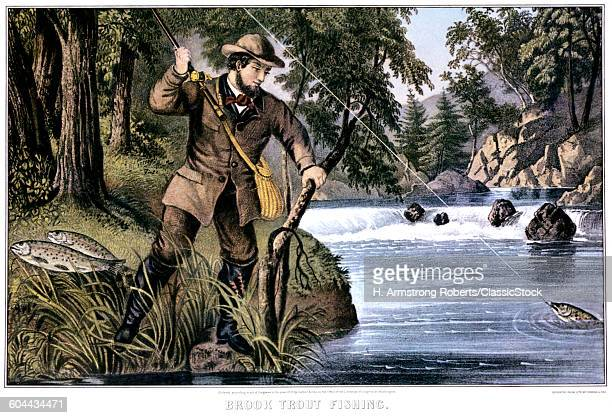 1870s BROOK TROUT FISHING CURRIER IVES LITHOGRAPH 1879