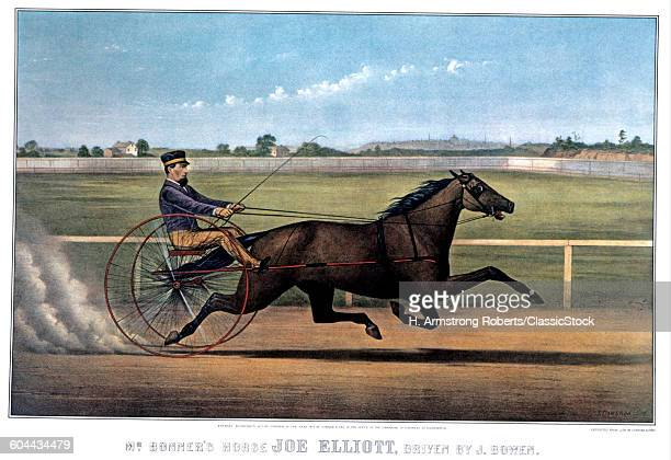 1870s MR BONNER'S HORSE JOE ELLIOT DRIVEN BY J BOWEN CURRIER IVES LITHOGRAPH 1872