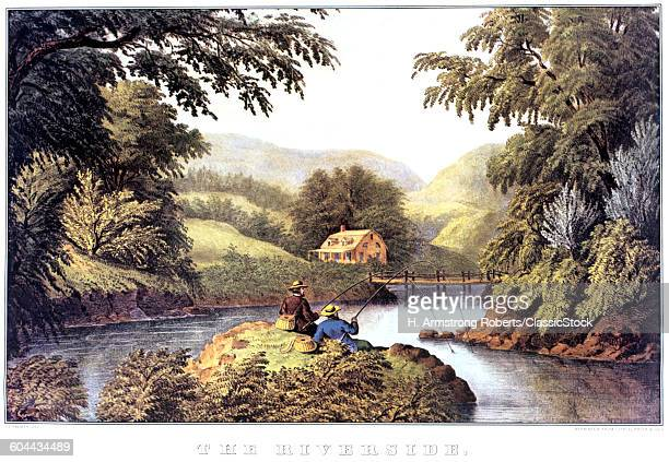 1870s THE RIVERSIDE PAINTING BY F F PALMER CURRIER IVES LITHOGRAPH 1870