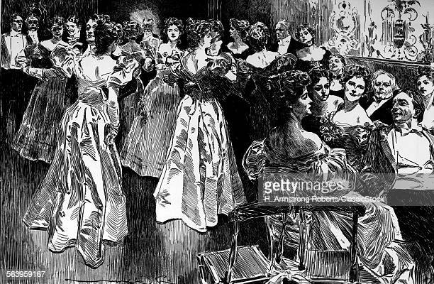 1890s 1900s ENGRAVING OF TURN OF THE CENTURY SOCIAL GATHERING