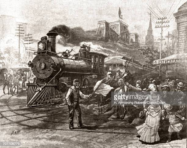 1890s 19th CENTURY TRAIN TRAVEL IN AMERICA ENGRAVING OF LOCOMOTIVE COMING DOWN STREET SCARING PEDESTRIANS AND HORSE AND CARRIAGE