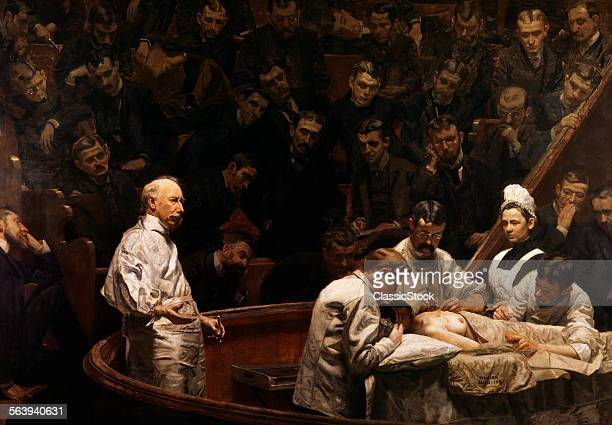 1890s THE AGNEW CLINIC PAINTING BY THOMAS EAKINS CLASS OF MEDICAL STUDENTS OBSERVING SURGERY BY SENIOR PHYSICIAN