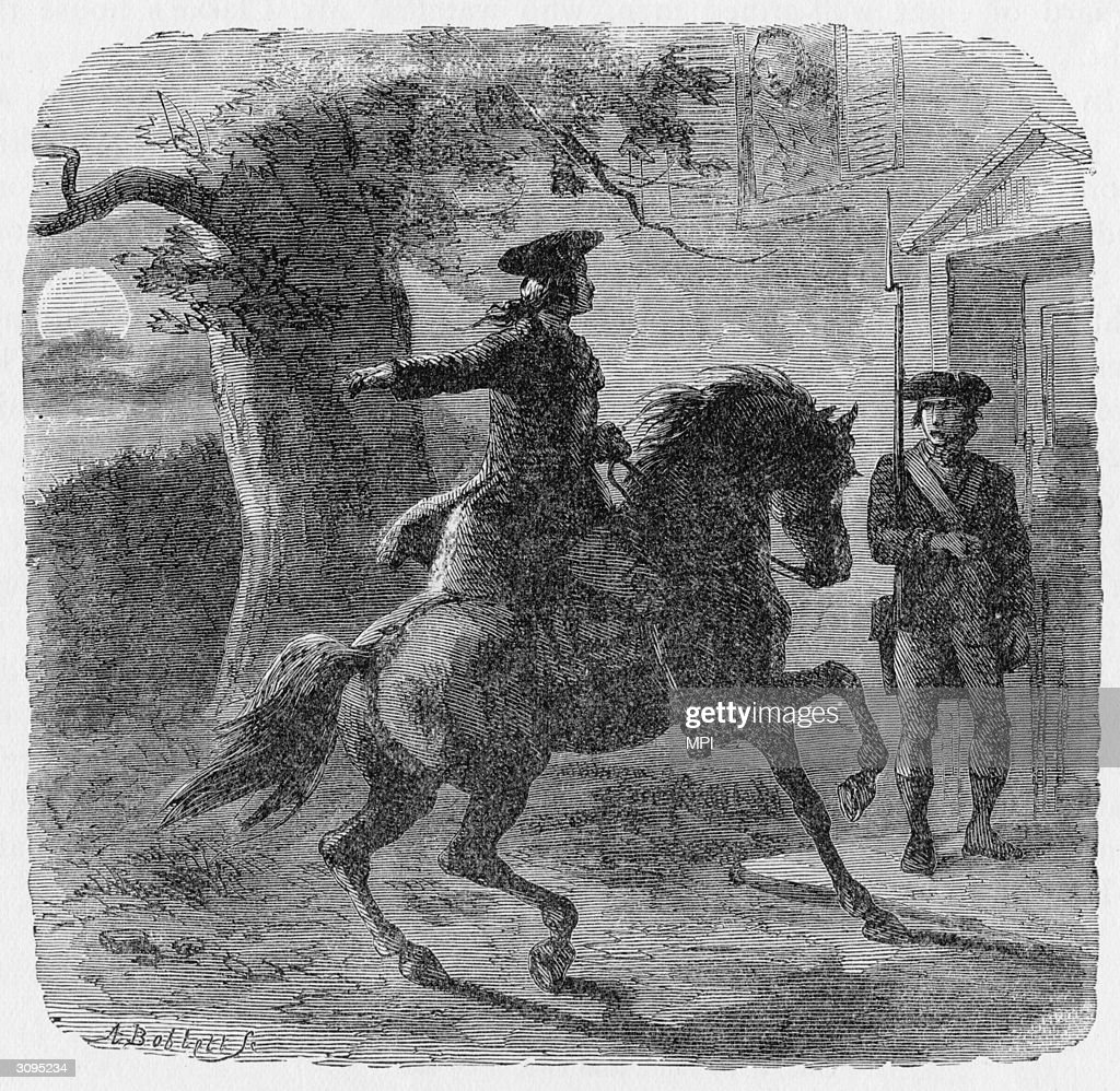 American patriot Paul Revere (1735 - 1818) warning American troops in Lexington of a British advance.