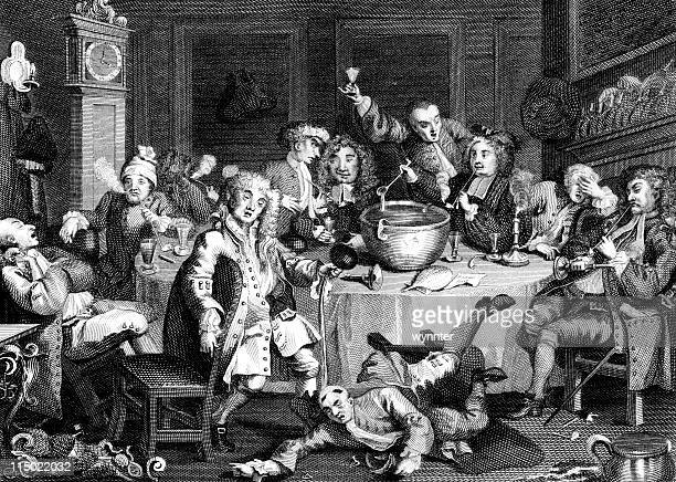 18th century drinking party in england by hogarth - 18th century stock illustrations