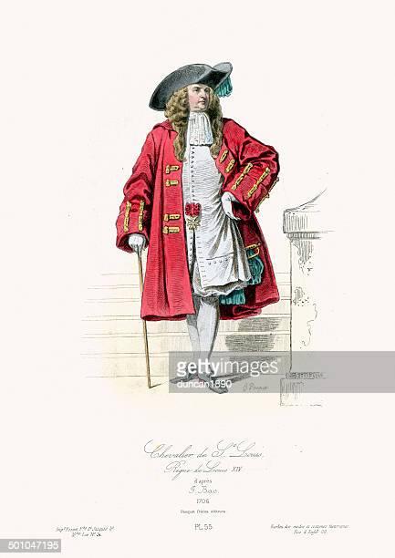 18th century fashion - chevalier de saint louis - 1600s stock illustrations