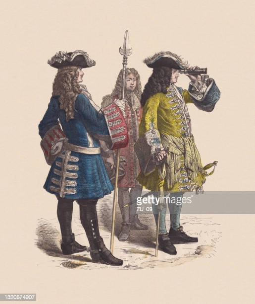 18th century, french marshal and subaltern, hand-colored woodcut, published c.1880 - halberd stock illustrations