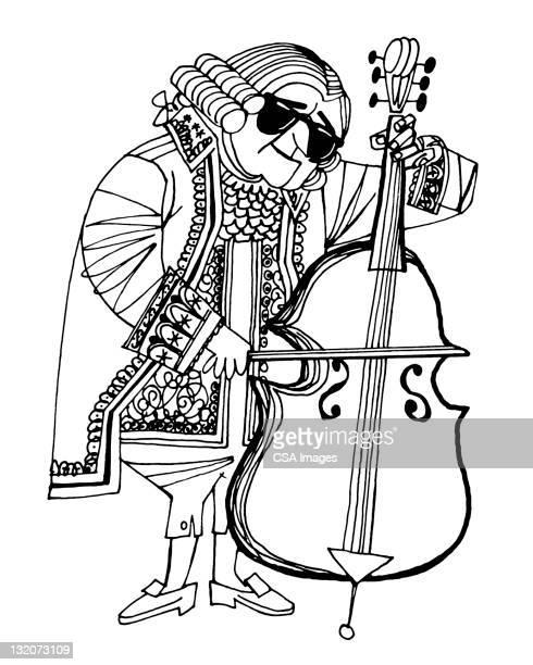 18 ème siècle Homme jouant Contrebasse