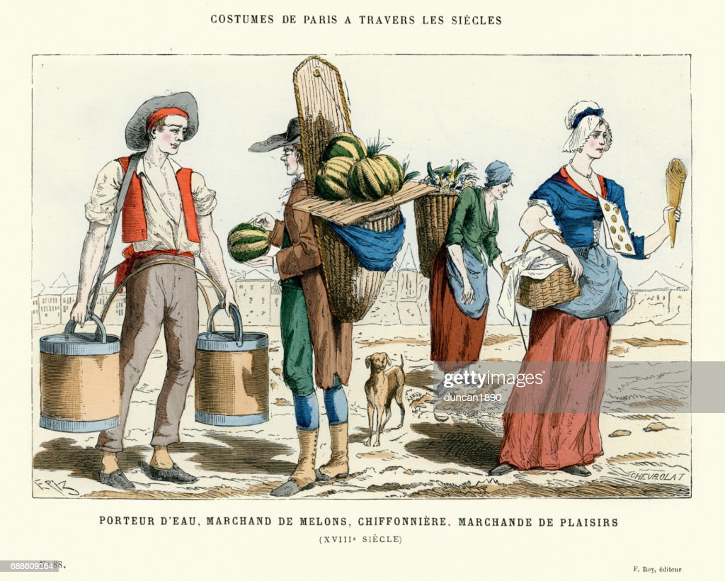 18th Century Water carrier, Mellon Merchant, pastry vendor : stock illustration