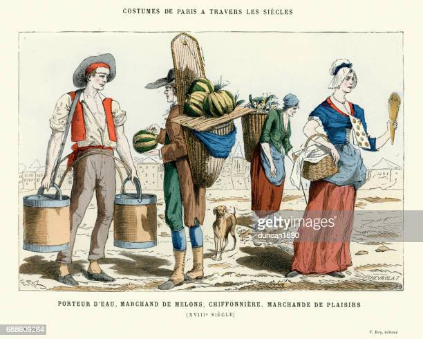 18th century water carrier, mellon merchant, pastry vendor - 18th century stock illustrations