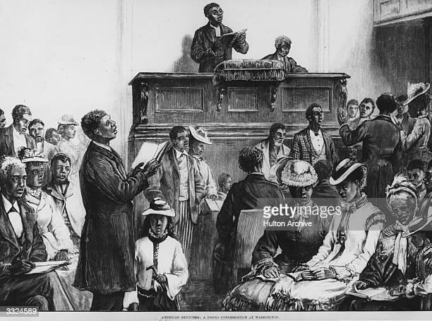 A negro preacher and his all black congregation Original Publication Illustrated London News American Sketches A Negro Congregation At Washington pub...