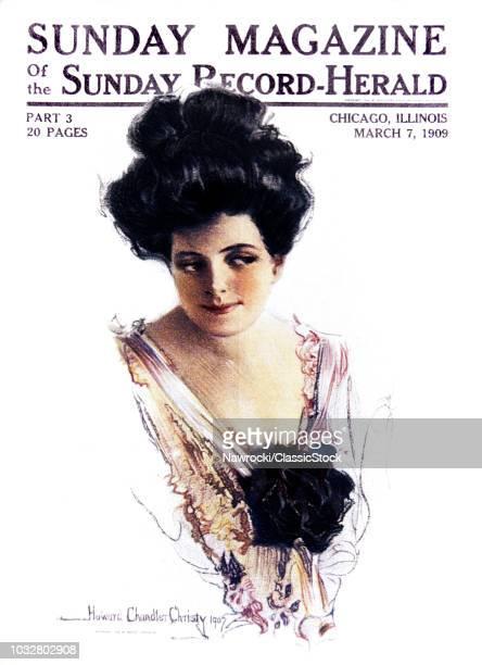 1900s 1907 PORTRAIT OF WOMAN HOWARD CHANDLER CHRISTY STYLISH FASHION COVER OF SUNDAY MAGAZINE MARCH 1909
