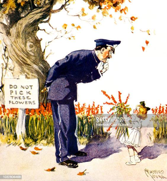 1900s 1910s LITTLE GIRL HANDING BOUQUET TO POLICEMAN BY DO NOT PICK FLOWERS SIGN