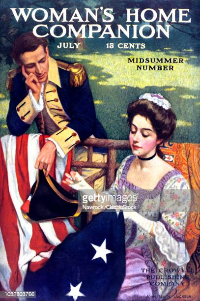 1900s BETSY ROSS SEWING FIRST AMERICAN FLAG JULY 1909 WOMAN'S HOME COMPANION 1909 MAGAZINE COVER