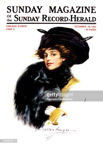 1900s PORTRAIT OF VICTORIAN WOMAN IN FUR HAT COLLAR AND MUFF STYLISH CLOTHES COVER OF SUNDAY MAGAZINE DECEMBER 1909