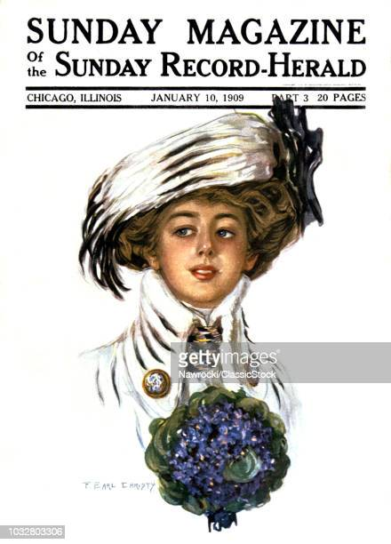 1900s WOMAN WEARING STYLISH HAT CLOTHES PORTRAIT HOLDING BOUQUET OF VIOLETS JANUARY 10 1909 MAGAZINE COVER