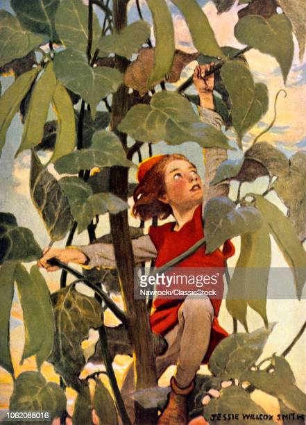 1910s JACK AND THE BEANSTALK FAIRY TALE ILLUSTRATION BY JESSIE WILLCOX SMITH