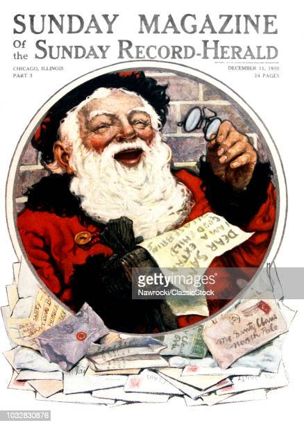 1910s LAUGHING SANTA CLAUS HOLDING GLASSES READING LETTERS TO DEAR SANTA COVER CHICAGO SUNDAY MAGAZINE COVER DECEMBER 11 1910