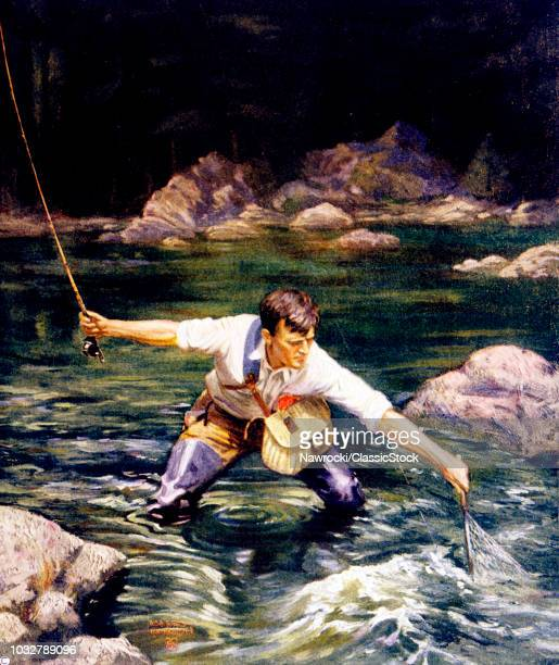 1920s COVER SUNDAY MAGAZINE LANDING THE TROUT MAN FISHING IN STREAM NETTING HIS CATCH