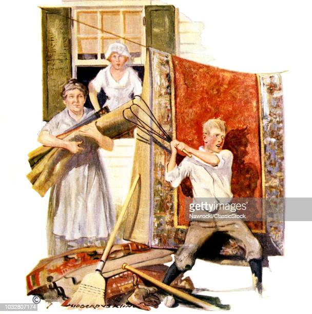 1920s FAMILY DOING SPRING CLEANING BOY BEATING CARPETS BASEBALL BAT AT HIS FEET FROM MAY 19 1921 LITERARY DIGEST