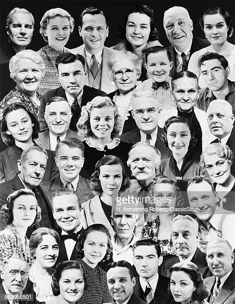 1930s MONTAGE OF 37 HEADS OF MEN WOMEN TEENS AND JUVENILES WITH BLACK NO SEAM BACKGROUND INSIDE