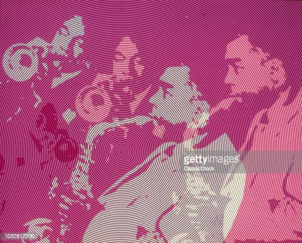 1950s 1960s 1970s AFRICAN AMERICAN JAZZ BAND SAXOPHONE TRUMPET SPECIAL EFFECT PURPLE CONCENTRIC CIRCLES ABSTRACT