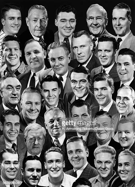 1950s 1960s MONTAGE OF 29 MEN'S HEADS ALL ARE SMILING