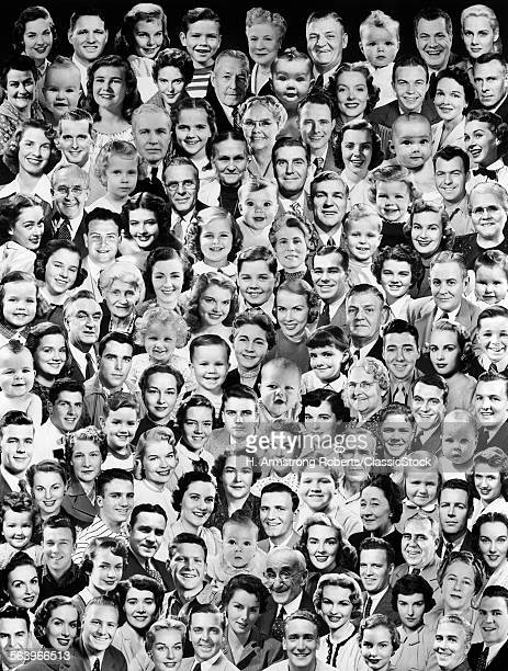 1950s MONTAGE OF SMILING FACES OF ALL AGES