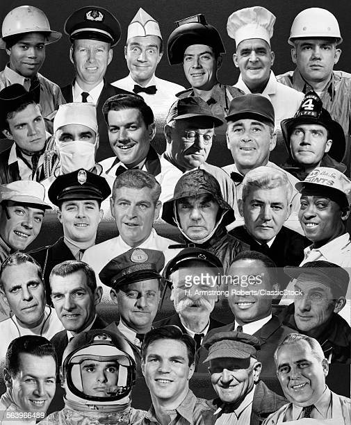 1960s 1970s MONTAGE OF HEADS OF 25 MEN OF DIFFERENT KINDS OF OCCUPATIONS ALL SMILING