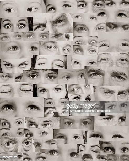 1960s MONTAGE OF EYES