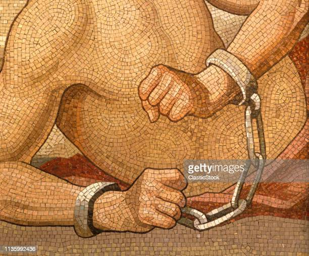 1990s SHACKLED HANDS MOSAIC ART IOWA STATE CAPITOL DES MOINES IOWA USA