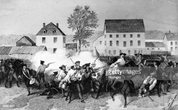 Hand to hand fighting in the Battle of Lexington, the first battle in the American War of Independence.