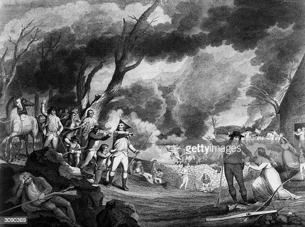 British troops open fire on a band of 70 colonial militia or minutemen at the Battle of Lexington, the first military encounter of the American War...