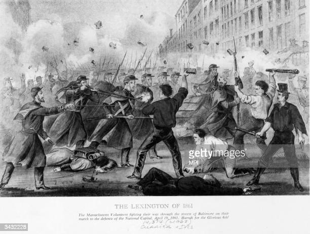 An engraving entitled 'The Lexington of 1861' depicting the march of the 6th Regiment Massachusetts Volunteer Militia through the streets of...