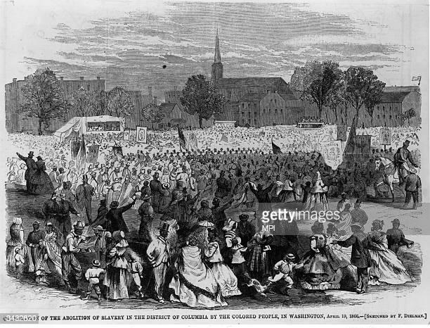 Washington DC's Black community celebrating the passage of the Thirteenth Amendment which outlawed slavery