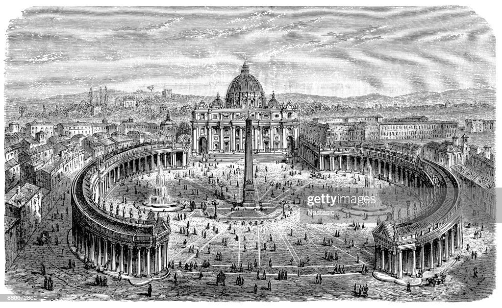 19th centruy engraving of St. Peter's Square, Vatican : stock illustration