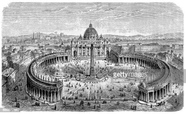 19th centruy engraving of St. Peter's Square, Vatican