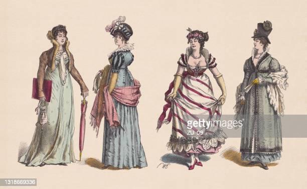 ilustrações de stock, clip art, desenhos animados e ícones de 19th century, 1st decade, women's clothes, hand-colored woodcuts, published c.1880 - roupa de mulher