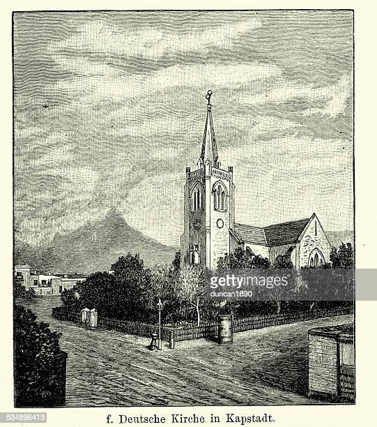 19th century africa - german church in cape town - spire stock illustrations, clip art, cartoons, & icons