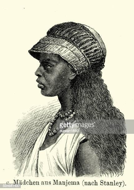 illustrations, cliparts, dessins animés et icônes de 19 ème siècle en afrique-fille de manyema personnes - femme africaine