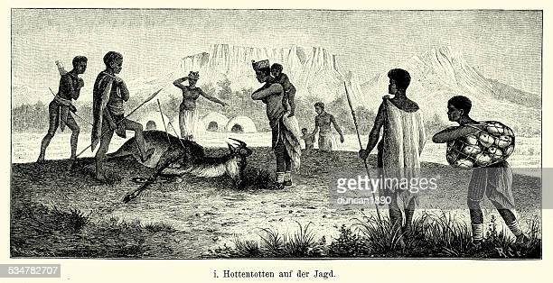 19th Century Africa -  Khoikhoi people hunting