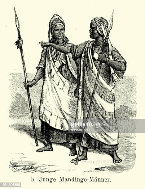 19th century africa - young men of mandingo - west africa stock illustrations, clip art, cartoons, & icons