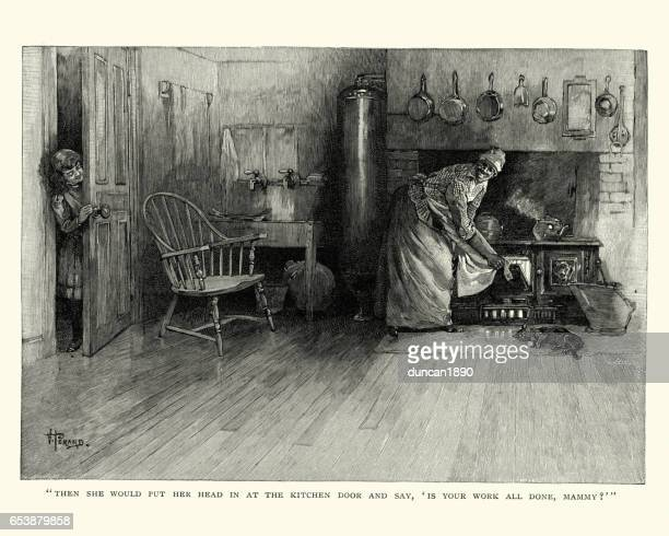 19th Century African american servant cooking in the kitchen